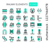 railway elements   thin line... | Shutterstock .eps vector #1227466978