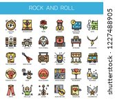 rock and roll   thin line and... | Shutterstock .eps vector #1227488905