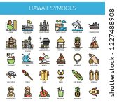 hawaii symbols   thin line and... | Shutterstock .eps vector #1227488908
