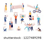 protest and demonstration of... | Shutterstock .eps vector #1227489298