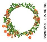 frame with fresh orange fruits  ... | Shutterstock . vector #1227503608