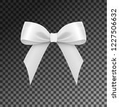 realistic shiny white satin bow ... | Shutterstock .eps vector #1227506632