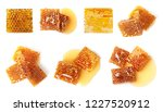 set with sweet honeycomb pieces ... | Shutterstock . vector #1227520912