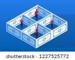 businessman trapped inside money | Shutterstock .eps vector #1227525772