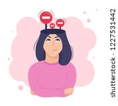 inside woman s head concept.... | Shutterstock .eps vector #1227531442