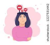 inside woman s head concept.... | Shutterstock .eps vector #1227531442