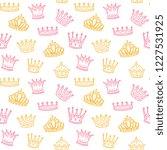 crown seamless pattern. golden... | Shutterstock .eps vector #1227531925