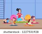 kids in yoga class. cartoon... | Shutterstock .eps vector #1227531928