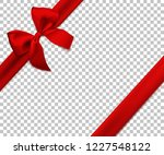 realistic red bow and ribbon... | Shutterstock .eps vector #1227548122