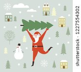 santa claus carry big christmas ... | Shutterstock .eps vector #1227554302