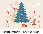 fuuny small cute christmas... | Shutterstock .eps vector #1227554305