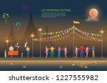 loy kratong festival background ... | Shutterstock .eps vector #1227555982