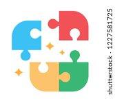 puzzle pieces vector icon... | Shutterstock .eps vector #1227581725