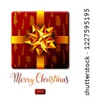 wrapped square gift box... | Shutterstock .eps vector #1227595195
