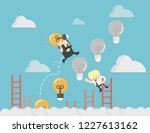 business man goes up the ladder ... | Shutterstock .eps vector #1227613162