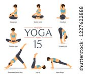 set of 8 yoga poses in flat... | Shutterstock .eps vector #1227622888