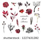 watercolor floral red and... | Shutterstock . vector #1227631282