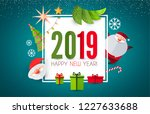 happy new 2019 year  cute paper ... | Shutterstock .eps vector #1227633688