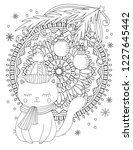 christmas coloring page. adult... | Shutterstock .eps vector #1227645442