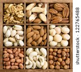 Assorted Nuts In A Wooden Box ...