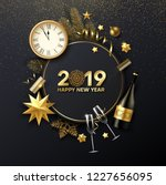 happy new year 2019 shiny card... | Shutterstock .eps vector #1227656095