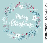 christmas callygraphic floral...   Shutterstock .eps vector #1227661228