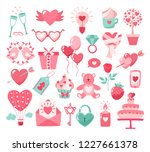 Valentines Day flat icons isolated on white background. Love concept. Design element for engagement,betrothal,wedding or Valentines day. Vector illustration.