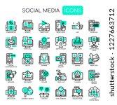 social media   thin line and... | Shutterstock .eps vector #1227663712