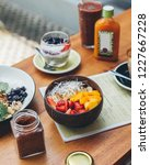 healthy smoothie bowl breakfast   Shutterstock . vector #1227667228