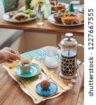 turkish coffee with sugar | Shutterstock . vector #1227667555
