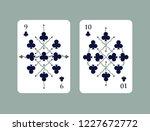 deck of clubs. nine and ten of... | Shutterstock .eps vector #1227672772
