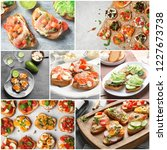 set with different delicious... | Shutterstock . vector #1227673738