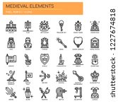 medieval elements   thin line...   Shutterstock .eps vector #1227674818