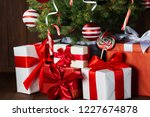 decorated christmas tree with... | Shutterstock . vector #1227674878