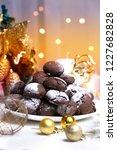 chocolate brownie cookies in... | Shutterstock . vector #1227682828