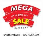 mega sale poster banner. 50 ... | Shutterstock .eps vector #1227684625