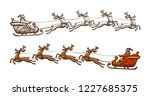 santa claus is riding in a... | Shutterstock .eps vector #1227685375