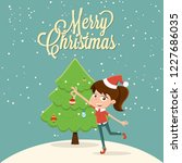 merry christmas  girl in a red... | Shutterstock .eps vector #1227686035