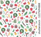 christmas pattern background... | Shutterstock . vector #1227694888