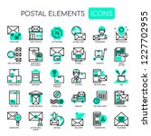 postal elements   thin line and ... | Shutterstock .eps vector #1227702955