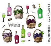 wine and grapes icons. sketchy... | Shutterstock .eps vector #1227710965