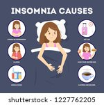 causes of insomnia infographic. ... | Shutterstock .eps vector #1227762205