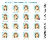 face makeup tutorial for woman. ...   Shutterstock .eps vector #1227762682