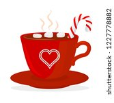 hot chocolate cup with... | Shutterstock .eps vector #1227778882