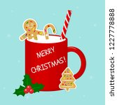 red cup with milk  ginger... | Shutterstock .eps vector #1227778888