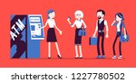 atm line and female assistant... | Shutterstock .eps vector #1227780502