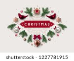 christmas postcard with vintage ... | Shutterstock .eps vector #1227781915