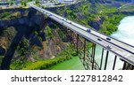 Perrine Bridge, Twin Falls, Idaho - Drone Aerial Approaching View Over River  Canyon With Cars Driving On Road