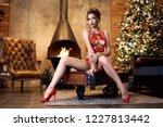 beautiful brunette sexy santa... | Shutterstock . vector #1227813442