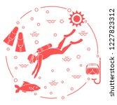 mask  snorkel  flippers  sun ... | Shutterstock .eps vector #1227823312